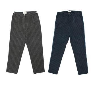 Bellerose Blue Pattern and Grey Pinstripe Trouser Set