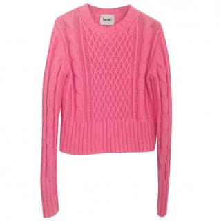 Acne pink cable knit sweater