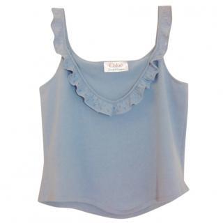 Chloe Baby Blue Cotton Ruffle Top
