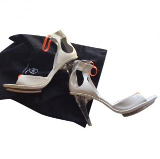 Alexander McQueen McQ White Leather Heeled Sandals