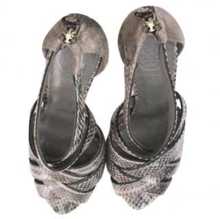 Tory Burch Grey Croc-Effect Heels