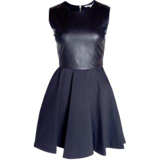 DIANE VON FURSTENBERG Jeannie Two Leather Fit and Flare Dress Black US