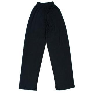 John Smedley Black Knit Wide Leg Trousers