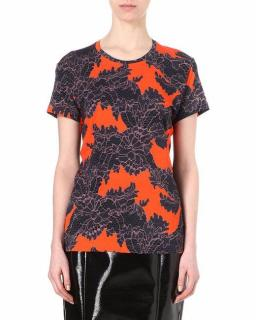 Jonathan Saunders Grey Lace Print Crepe Top