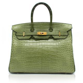 Hermes 35cm Vert Anis Nilo Crocodile Birkin Bag