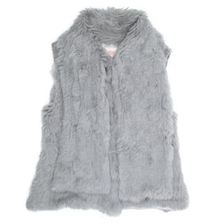 Matthew Williamson Grey Rabbit Fur and Velvet Vest