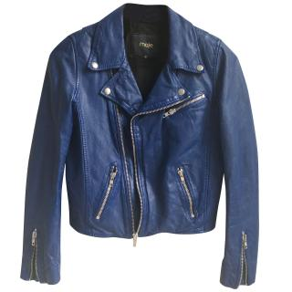 Maje Blue leather jacket