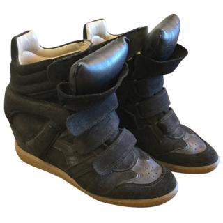 Isabel Marant black hidden wedge boots