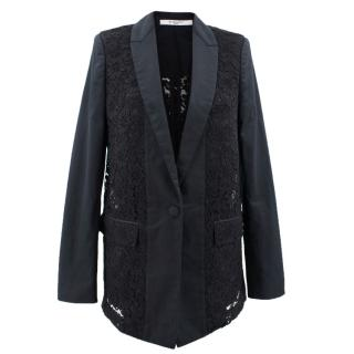 Givenchy Black Floral Lace Blazer