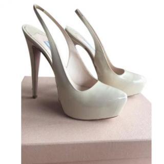 Prada Ivory Platform Heels