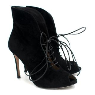 Gianvito Rossi Black Lace-Up Suede Ankle Boots
