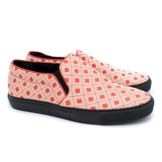 Alexander McQueen Men's Red & White Pattern Trainers