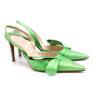 Christian Louboutin Satin Green Slingbacks