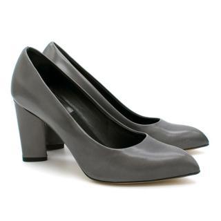 Yves Saint Laurent Grey Block Heel Pumps