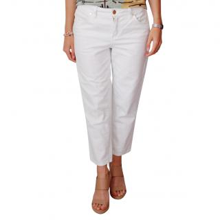 Tory Burch Cropped White Jeans