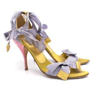 Prada Lavander and Gold Sandals