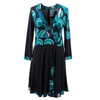 Issa Black Butterfly Print Dress