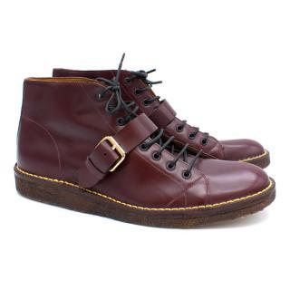 Marc Jacobs Burgundy Combat Boots