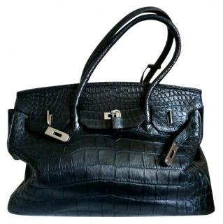 Via La Moda Black Crocodile Leather Tote