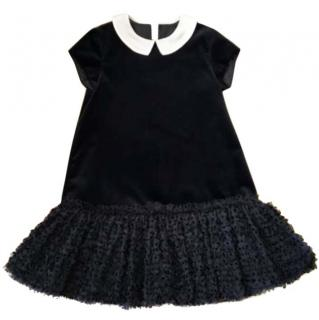 Fendi Size 8 Black Velvet  Ruffle Tulle Dress
