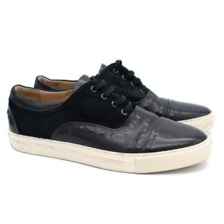 Alexander McQueen Black Calf-Hair and Leather Trainers