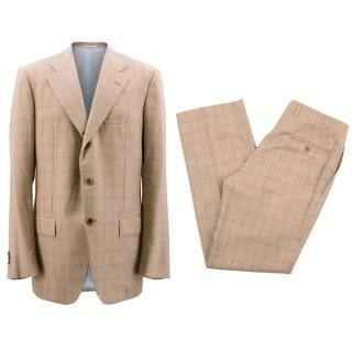 Kiton Men's Tan Cashmere Check Suit
