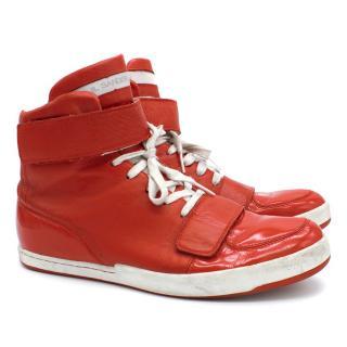 Jil Sander Red High Top Sneakers