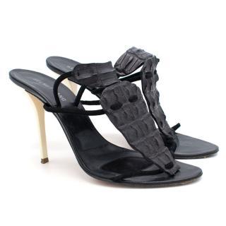 Helmut Lang Embossed Alligator Sandals