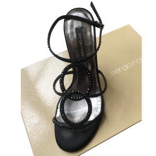 Sergio Rossi Black Embellished Evening Sandals