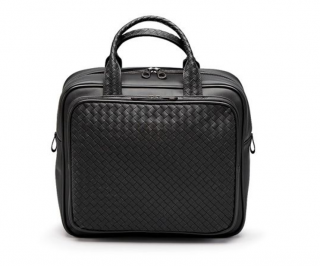 Bottega Veneta Travel Bag In Nero Intrecciato VN