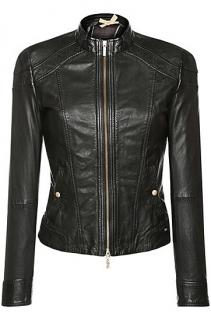 Orange Black Hugo Boss Women Leather Jacket Sheepskin 'Janassila'