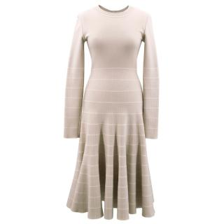 Alaia Nude Knit Midi Dress