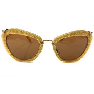 Miu Miu Gold Sparkly Sunglasses