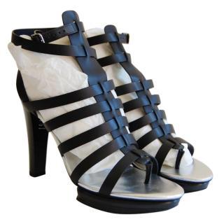 Hogan Black Leather Gladiator Sandals