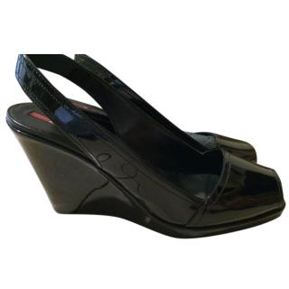 Prada Open Toe Black Shoes
