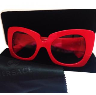 Versace Red Oversized Sunglasses