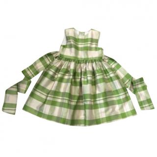 Papo d'Anjo Size 5 Green Plaid Silk Party Dress Worn Once!