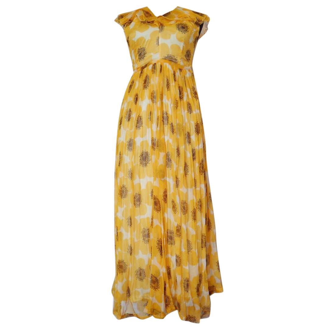 Raoul yellow silk chiffon maxi dress