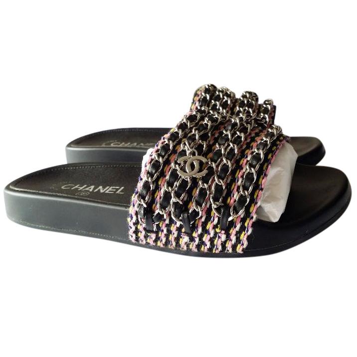 c4a73fa2e275 Chanel Tropiconic Chain Slides Mules 39 Sandals