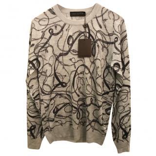 Louis Vuitton Chains Print crew neck with receipt