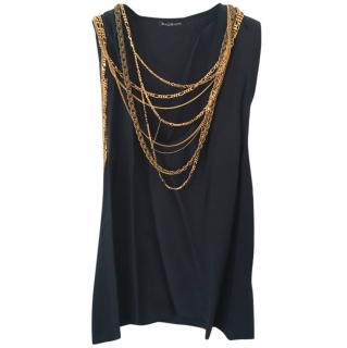Balmain Navy Blue Embellished Chain Silk Top - Never Worn