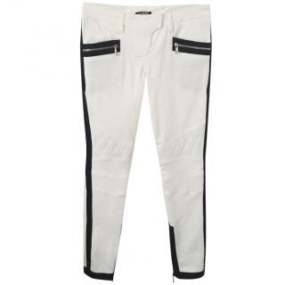 Balmain White Biker Jeans with Black Trim - Never Worn