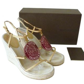 Louis Vuitton Red And Beige Wedges