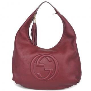 Gucci Large Soho Burgundy Pebbled Calfskin Leather Hobo Bag