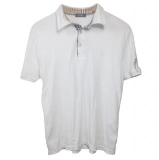 Burberry White Nova Print Polo Top