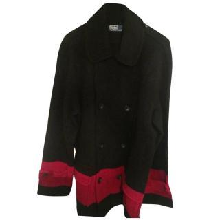 Polo Ralph Lauren Men's Black and Red Wool Peacoat