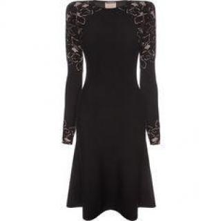 Alexander McQueen Placed Rose Jacquard Crew Neck Dress Autumn/Winter