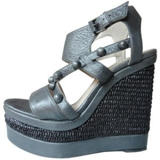 Balenciaga grey leather wedges