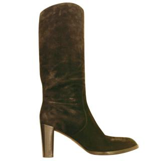 Sergio Rossi Knee-High Suede Black Boots
