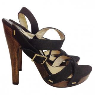 Jimmy Choo Black Denim High Heel Sandals